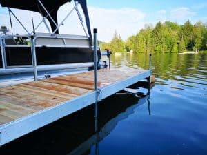 Aluminum dock with boat
